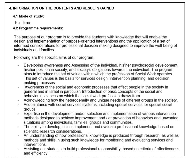 סעיף 4: מידע על התכנים והתוצאות שהושגו